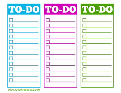 free printable to do list 100 simple books